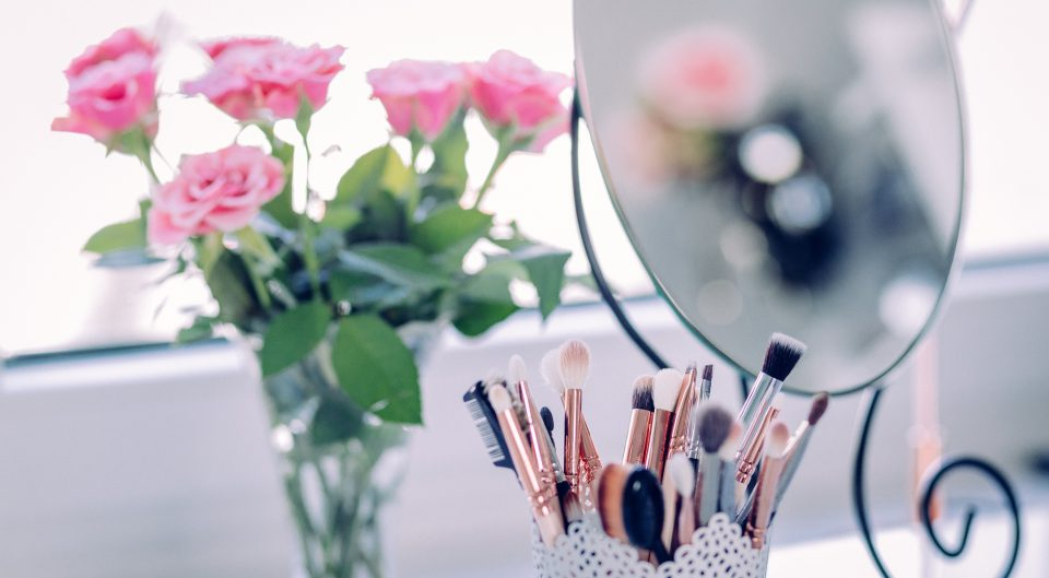 Makeup Brushes, Mirror, Flowers, In Salon